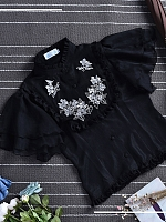 Flower-Embroidered Bell Sleeve Chinese Shirt by Lasses Say