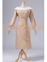Victorian Elegant Beige Long Sleeves Tea Length Dress by Lace Garden