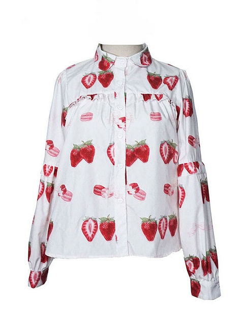Strawberry Macaron Cotton Daily Versatile Long Sleeve Blouse by Mary