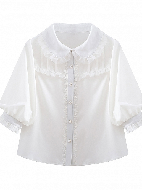 Little Girl Lace Organza Lantern Sleeve Mid-sleeves Doll Collar Blouse by Mary
