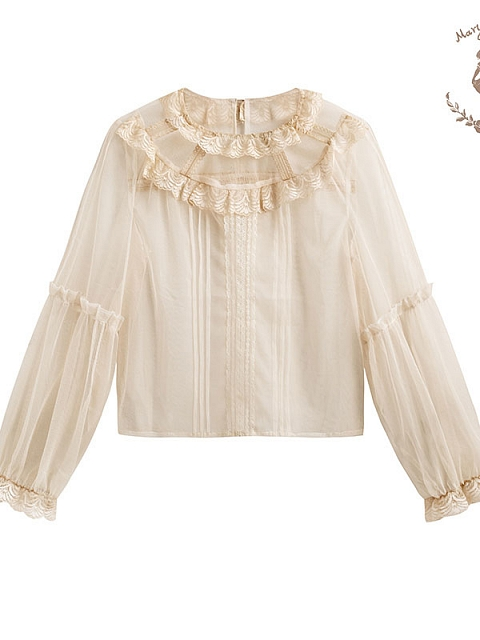 Airy Lace Round Collar Long Sleeve Blouse by Mary