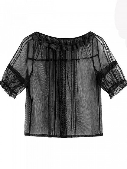 Airy Lace Round Collar Short Sleeve Blouse by Mary