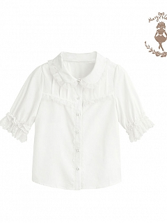 Organza Lace Mid-sleeve Versatile Blouse by Mary