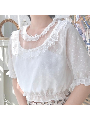 Flower Lace Short-sleeve Blouse by Mary