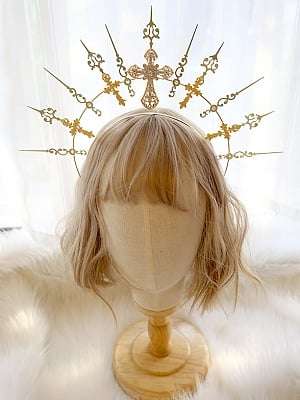 DIY Lolita Headpiece Accessories Package Virgin Halo Golden Cross by Miss Bunny