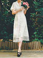 Moonlight Poem V-neckline White Vintage Dress by Miss Egg