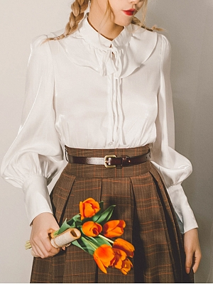 Lily of The Valley Flounce Collar Vintage Shirt by Miss Egg
