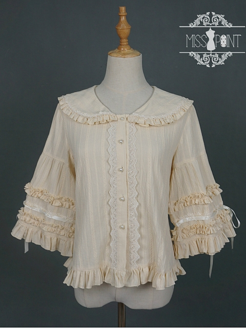 Round Ruffled Trim Collar Trumpet Sleeves Shirt Custom Size Available - Sailor Rabbit by Miss Point