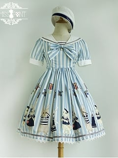 Summer Short Sleeves Sailor Collar Sweet Lolita Casual Dress - Silor Rabbit by Miss Point