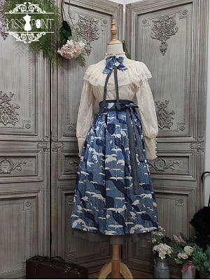 Refreshing Breeze Wa Lolita Reversible Hakama Skirt by Miss Point