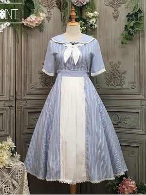 Transoceanic Letter Sailor Collar Lolita Dress Stripe OP by Miss Point Custom Size Available