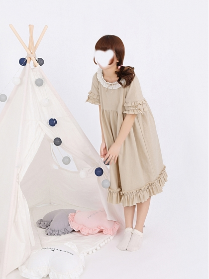 Flounced Round Neckline Nightgown by Miwako