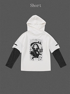 Fake Two-Pieces Death Hoodies by Miwako
