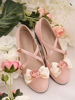Country Embroidered Plants Detachable Bowknot Lace Up Ankle Strap Shoes