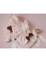 Pastel Lace-Frills Bonnet and Hairband by Milu Forest