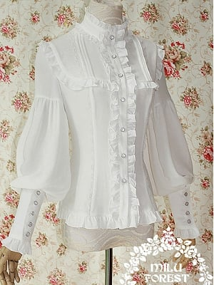 Pride and Prejudice's Ruffled Placket Bishop Sleeve Blouse by Milu Forest