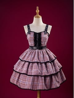 KIYANA Suret Black And Pink Punk Lolita Dress JSK by MOFINA Lolita