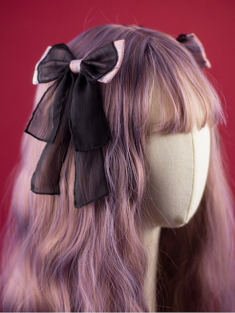 KIYANA Suret Black And Pink Lolita Dress JSK Matching Hairclips by MOFINA Lolita