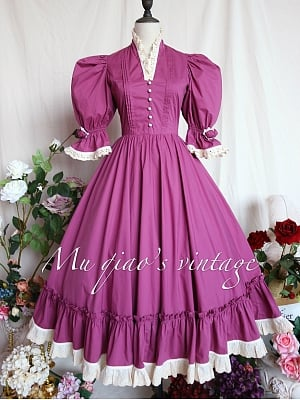 Bishop Sleeves Fuchsia Pink Vintage Dress - Southern French Lover by Mu Qiao's Vintage