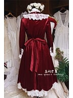 Vintage Lace High Collar Velvet Dress - Berry by Mu Qiao's Vintage