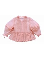 Puff Sleeves Pleated Bodice Pink Shirt - Lovely Puff Lady by Mu Qiao's Vintage