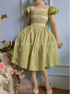 Square Neckline Short Bubble Sleeves Vintage Dress - Wild Sunflower by Mu Qiao's Vintage