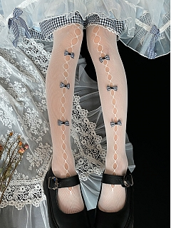 Small Plaid Bowknots Decorated Cutout Front Lolita Tights by Ms. Sox