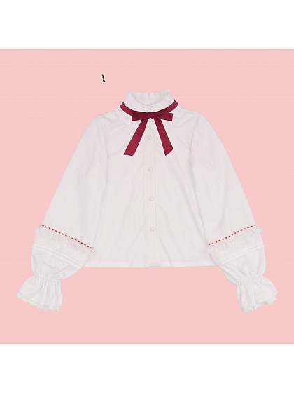 Tie on Ruffle Collar Chiffon Blouse
