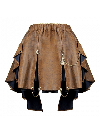 Steampunk Chiffon Two-layers Irregular Skirt by Mr Yi's Steamland
