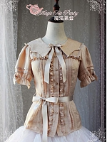 Preorder Bow and Belt Decorated Fold Over Collar Short Sleeve Blouse by Magic Tea Party