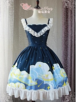 Lace Trimmed Straps Clouds and Stars Prints JSK-Night Sky Collection by Magic Tea Party