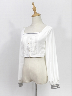 Long Sleeves Square Neckline Short Top - Morningstar Idol Academy by Souffle Song