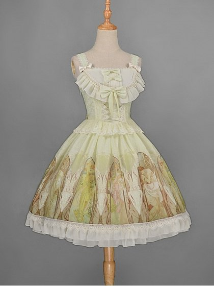 Rococo Lolita JSK with Bowknots and Lace Decoration - Mucha Qiushi by Rose's Valley