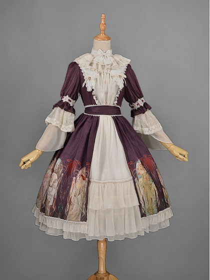 Removable High Collar Rococo Lolita OP Lolita One Piece Dress - Mucha Qiushi by Rose's Valley
