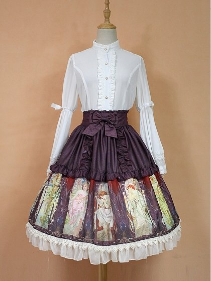 Bowknot Decorated High Waist Two Layered SK Lolita Skirt - Mucha Qiushi by Rose's Valley