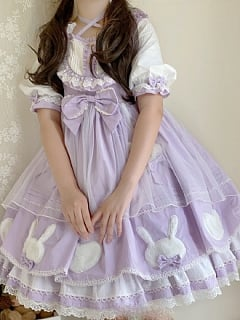 Sweet Rabbit Summer Lolita Dress Purple OP by NANLU