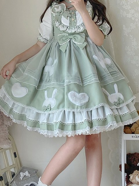 Sweet Rabbit Summer Lolita Dress Green OP by NANLU