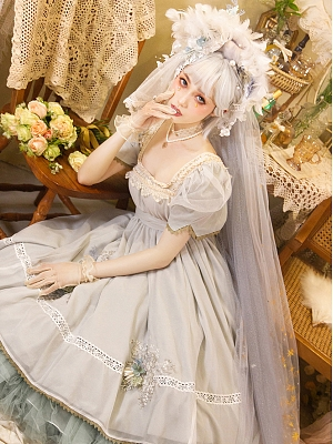 Scarborough Fair Lolita Dress Matching Hairband Veil by Neo Ludwig