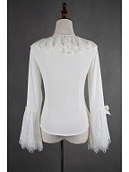 Gorgeous Ruffled Lace Sleeves Chiffon Lolita Shirt - The Maiden in the Garden by Souffle Song