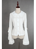 Bow-Knot Decorated Trumpet Sleeves Lace Up Lolita Shirt - Seasons' Goddess by Souffle Song