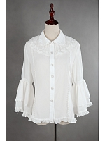 Lapel Chiffon Long Sleeves Lolita Shirt - by Souffle Song