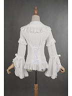 Detachable Trumpet Sleeves Lace Up Chiffon Lolita Shirt - Madeleine by Souffle Song