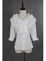 Scoop Collar Three-Quarter Sleeves  Lolita Chiffon  Shirt - by Souffle Song