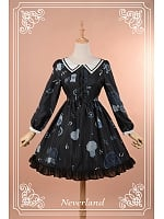 Lolita  Peaked Collar Long Sleeves Chiffon Dress - Clock Gear by Souffle Song