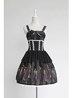 Lolita  Wide Straps with Tulle Printed Jumper Skirt / JSK -  The Byzantine Colorful Window by Souffle Song