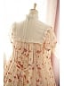 Sweet Ruffled Neckline with Bow-Knot Afternoon Tea Printed OP - Sweet Afternoon Tea by Souffle Song