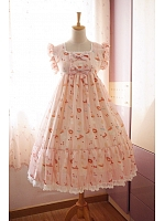 Lolita Ruffled Sleeves Lace Neckline with Bow-Knot Jumper Skirt / JSK - Sweet Afternoon Tea by Souffle Song