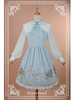 Sweet  Square Collar Bow-Knot Decorated  Printed OP Dress - Angel Serenade by Souffle Song