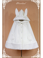 Black Rabbit Winter Cape with Bowknot Decoration - by Souffle Song