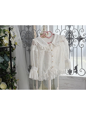 Peter Pan Collar Half Sleeve Gold Stamping Blouse By Souffle Song